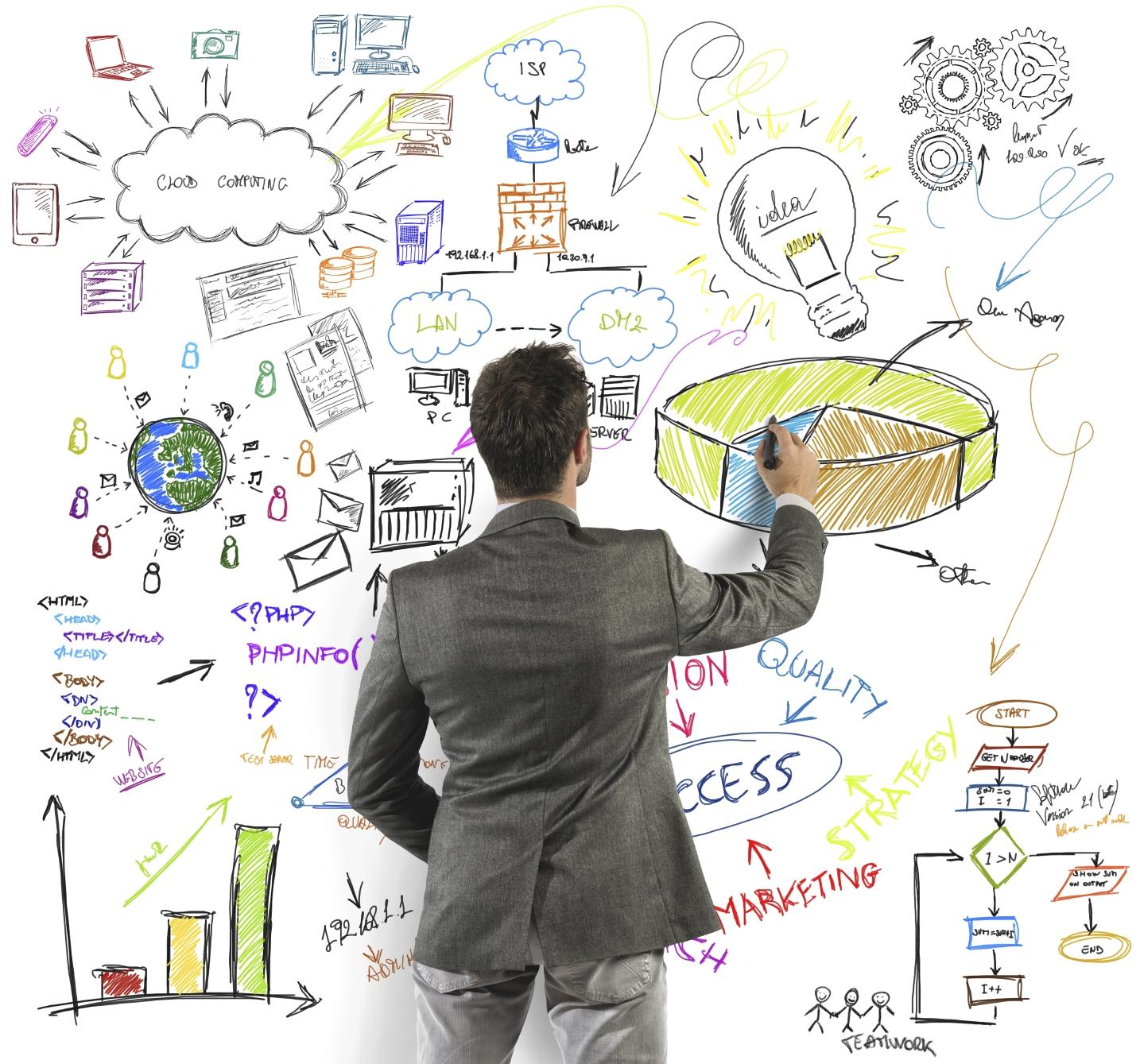 Businessman draws a big modern business project