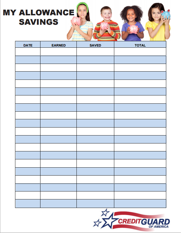 Allowance Saving Sheet - Image