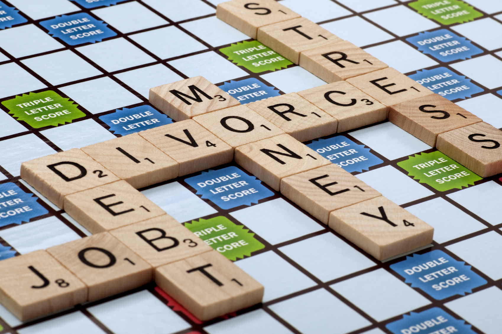 Divorce and Debt Scrabble Picture