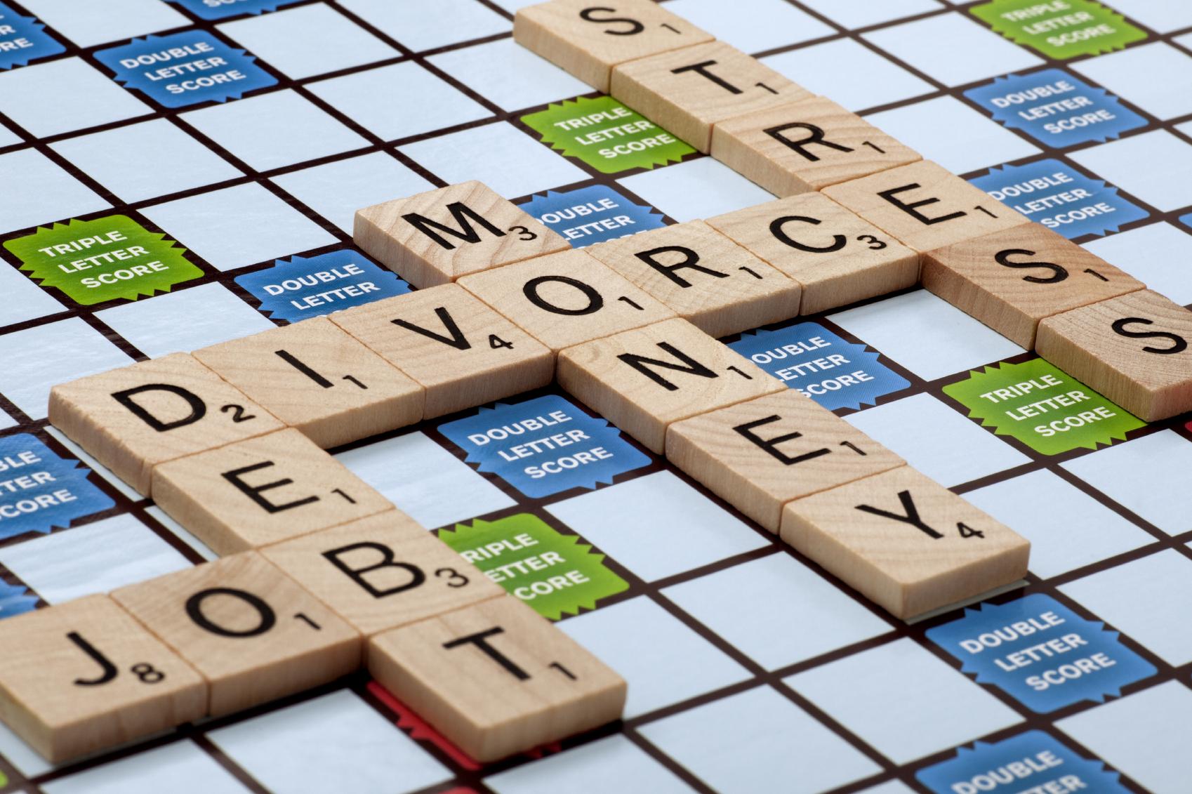 Divorce and Debt Scrabble Picture