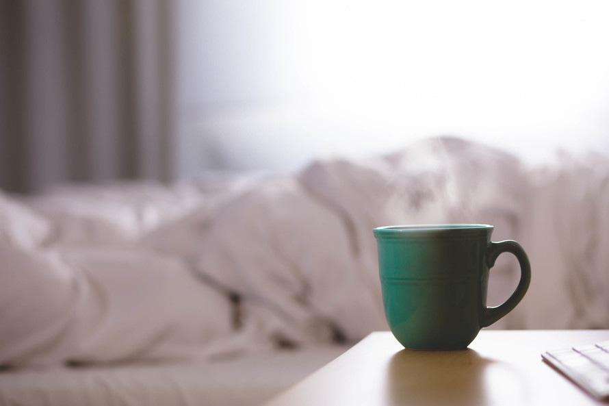 coffee mug on nightstand
