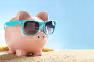 calm piggy bank holding an emergency fund