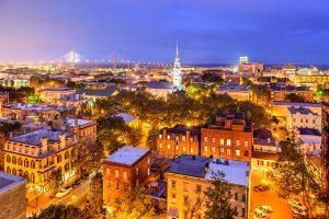 Photo of Savannah skyline at night