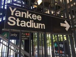 Photograph of transit sign for Yankee Stadium in Bronx, NY