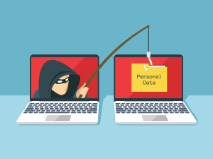 An illustration of a criminal phishing data from a computer