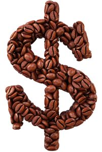 "coffee beans arranged to draw ""$"""