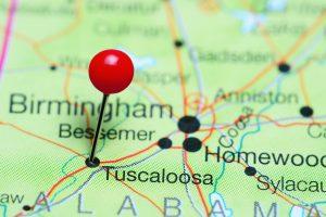 Close of Alabama map with pin at Tuscaloosa