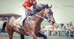 Jockey in red racing horse down track