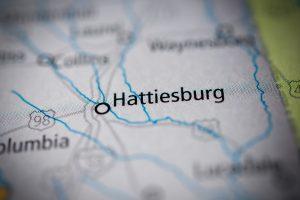 map of MS including Hattiesburg