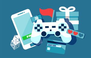 graphic of video games, credit card and a smartphone