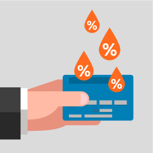 graphic of male hand holding credit card with percent signings hanging above