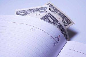 Open notebook with dollars