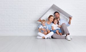 happy family in clean minimalist space
