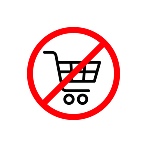 shopping cart graphic inside a marked out circle — no shopping.