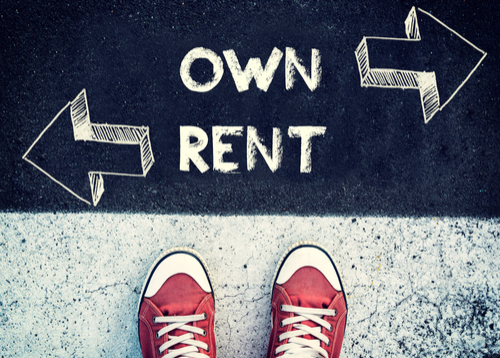 rent vs own- chalkboard with red sneakers in front.
